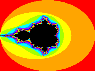 An image of the Mandelbrot set, generated in the canvas element with Javascript