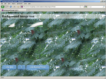 Screenshot of background image tiling with multiple background hack