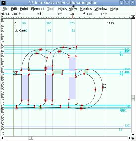 Calluna f_f_b glyph in FontForge