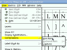 FontForge selecting ligatures from the Combinations sub-menu of the View menu