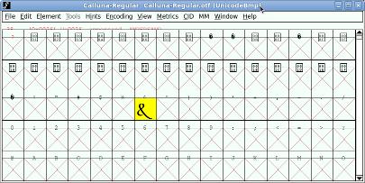 Calluna stylstic set 01 in FontForge