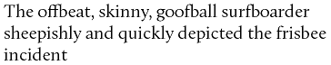 A sample sentence in Calluna with default ligature features