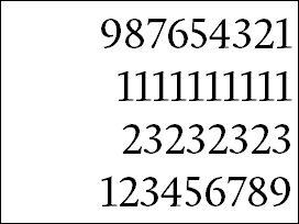 Numbers in Calluna, lining figures