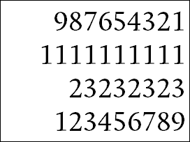 Numbers in Calluna, tabular lining figures