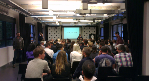A picture from the back of the room at Google Campus London where the Tech for Good presentations were about to take place