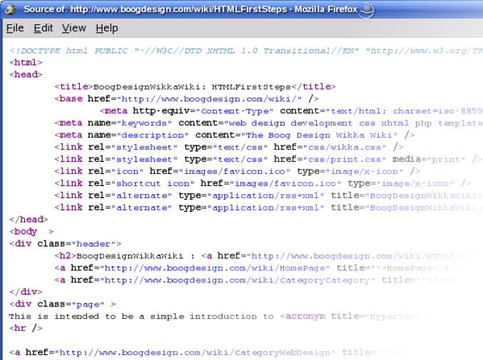 Screenshot of view page source in Firefox